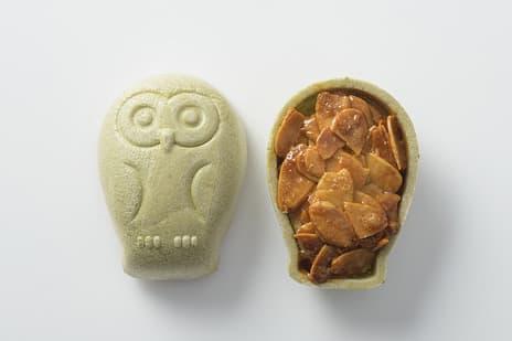 鹿児島の伝統食材芋飴を使った和洋折衷の縁起菓子「フクロウのフロランタン」